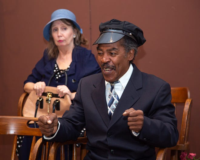 "As Hoke (Donald Thomas) tells a joke, Daisy (Donna Mavity) begins to realize that maybe the two of them have more in common than she thought in Monticello Opera House's production of ""Driving Miss Daisy."""