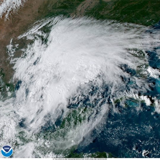 A GOES satellite view of the Gulf Thursday evening.