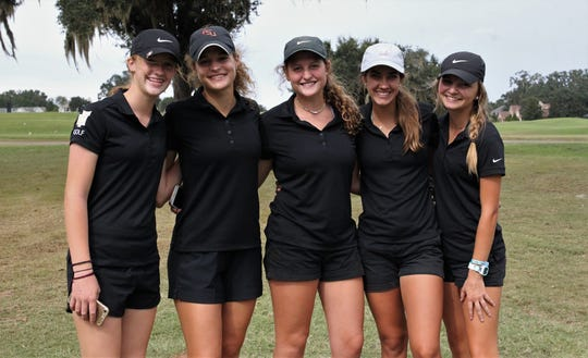 Florida High's girls golf team won a District 2-1A title at Southwood Golf Club on Wednesday, Oct. 16, 2019. Fron left: Cannon Ramsey, Savannah Bonn, Emma Conrad, Olivia Dean, Hailey Barrow.