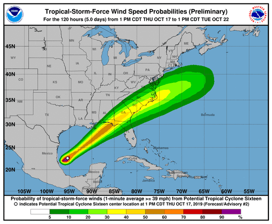 Wind speed probabilities for what is expected to become Tropical Storm Nestor.