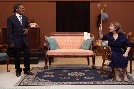 "Daisy (Donna Mavity) tells Hoke (Donald Thomas) that she doesn't need help from anyone in Monticello Opera House's production of ""Driving Miss Daisy."""