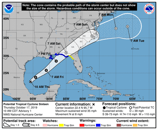 Potential Tropical Cyclone 16 11 a.m. Oct. 17, 2019
