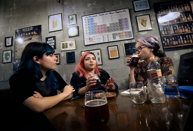 Brewers Valeria Terrazas, left, Gloria Santos Guzman, center, and Maria Gutierrez are bringing craft beer to Juarez where the scene has only been going for about a year.