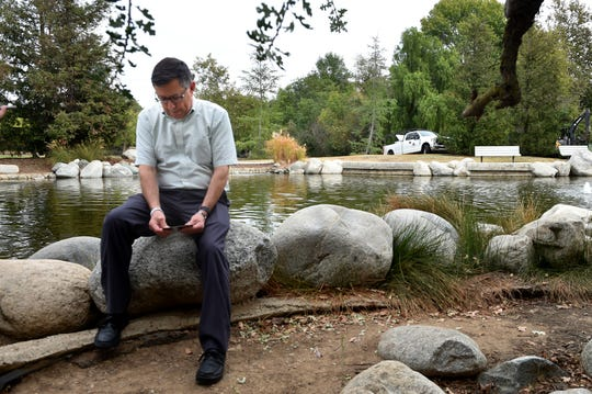 Michael Morisette, of Simi Valley, visits a pond at Conejo Creek North Park in Thousand Oaks, where a healing garden is under construction to honor those affected by the November 2018 shooting at the Borderline Bar and Grill.  Morisette's daughter, Kristina, was one of the 12 people who were killed in the shooting.