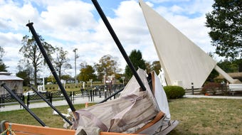 High gusts of wind caused damage at the St. Padre Pio Shrine. Several religious statues toppled over and broke.