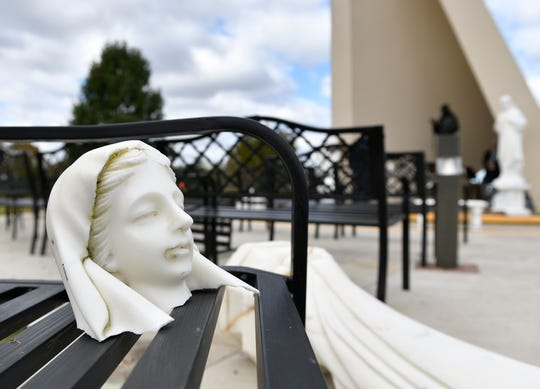 Several statues and gazebos at the St. Padre Pio Shrine, located in the Landisville section of Buena on Route 40 and Central Avenue, recently suffered weather related damage.