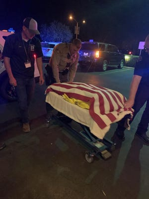 """K9 deputy """"Rocco""""was hit and killed by a car on Avenue 328 in Visalia on Wednesday, Oct. 17, 2019."""