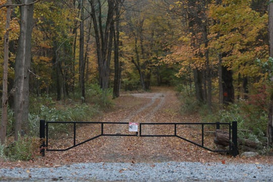 The construction entrance on Eagle Valley Rd. which leads to 242 acres of undeveloped land that borders Ramapo and Tuxedo in Orange County, where the Jehovah's Witness are planning a mega audio/video production center for religious materials, including dormitories for workers in Tuxedo on Thursday, October 17, 2019.