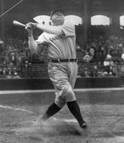 In this June 18, 1929, file photo, New York Yankees' Babe Ruth takes a big swing at Yankee Stadium. The bat Ruth used to slug his 500th career home run in 1929 is going up for auction.