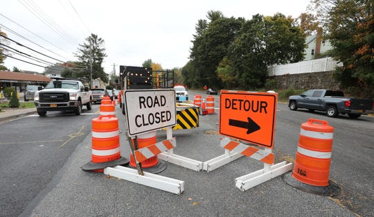 Work by the New York City Department of Environmental Protection, continues along North Broadway in North White Plains, where northbound traffic is detoured, Oct. 17, 2019.