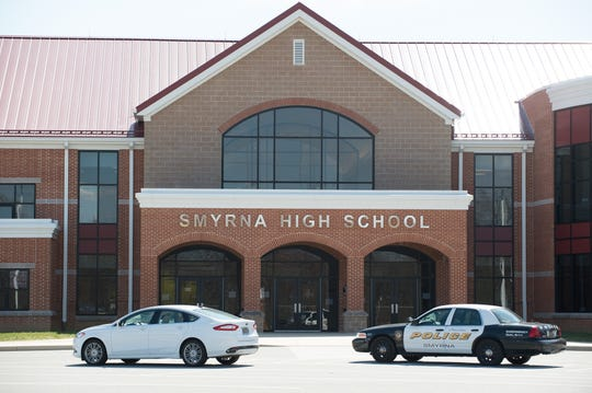The entrance to Smyrna High School in March 2016.