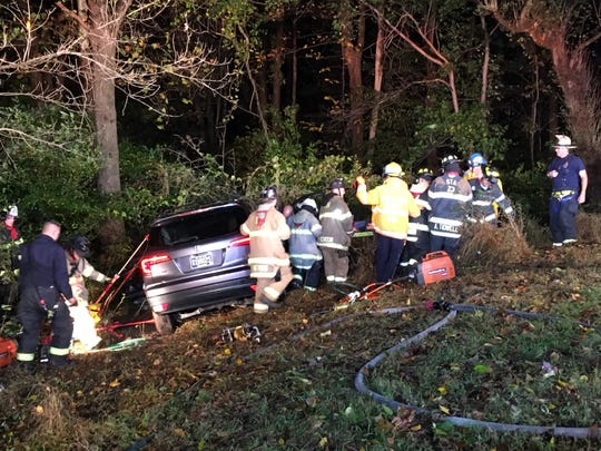 A Honda CRV crashed into a wooded area in Greenville.