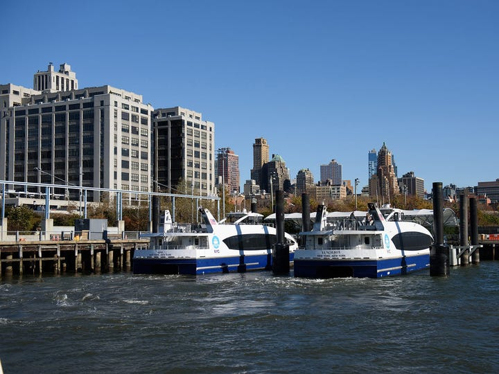 Two NYC Ferries docked at Brooklyn Bridge Park Pier 6/Atlantic Ave Landing.