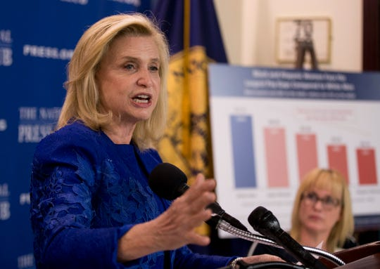 On this April 12, 2016 file describe, Gain. Carolyn Maloney, D-N.Y., speaks for the length of a Nationwide Press Club Newsmaker news conference, on Equal Pay Day, at the Nationwide Press Club in Washington.