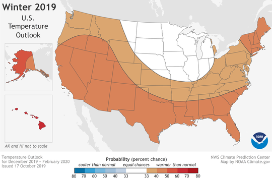 NOAA's winter temperature outlook calls for warmer-than-average temperatures for most of the USA. The darker the orange color, the greater the chance of warmer temperatures.