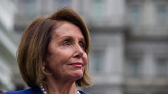 House Speaker Nancy Pelosi of Calif., listens while speaking with reporters after a meeting with President Donald Trump at the White House, Wednesday, Oct. 16, 2019, in Washington. (AP Photo/Alex Brandon) ORG XMIT: DCAB116