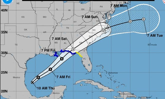The projected path of the weather system that's expected to become Tropical Storm Nestor.