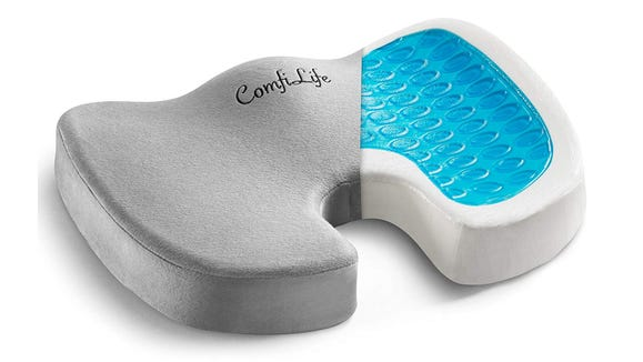 This memory foam cushion comes with a cooling gel layer and it's supposed to help with back pain.