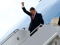 Energy Secretary Rick Perry gestures as he arrives on Air Force One with President Donald Trump at Naval Air Station Joint Reserve Base in Fort Worth, Texas, Thursday, Oct. 17, 2019. (AP Photo/Andrew Harnik) ORG XMIT: DCAH324