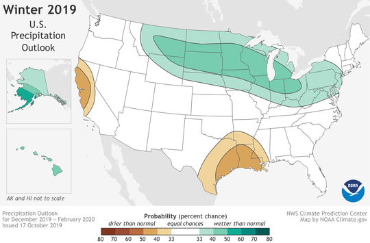 NOAA's winter precipitation outlook calls for wetter-than-average weather across the nation's northern tier, along with Alaska and Hawaii (areas in green.) A drier-than-normal winter is forecast along the Gulf Coast and in northern and central California (brown areas).