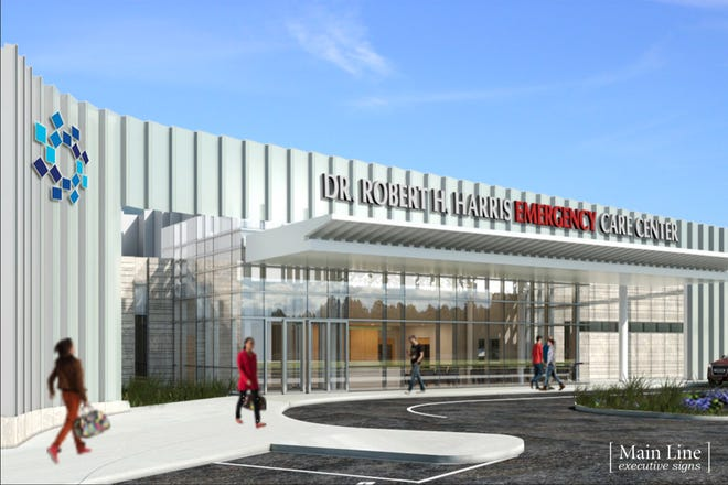 A rendering of the Dr. Robert H. Harris Emergency Care Center at Bayshore Medical Center in Holmdel.