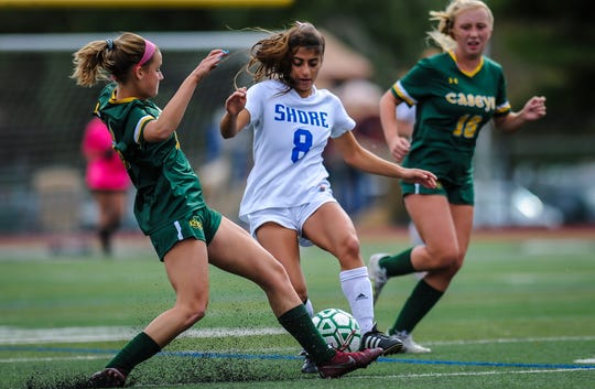 Red Bank Catholic hosts Shore in the SCT girls soccer quarterfinal game at Count Basie Field in Red Bank on Oct. 17, 2019.