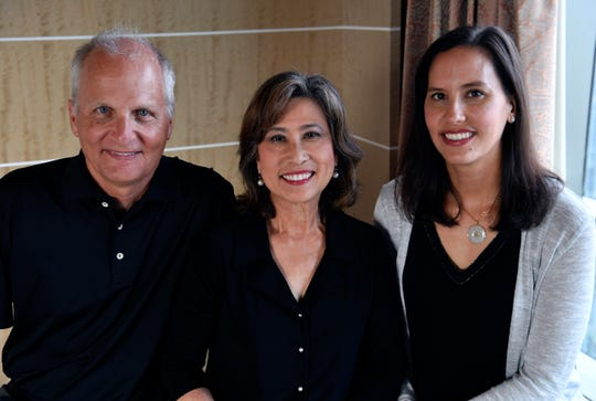 David Richter, his wife Elizabeth Chu Richter, and their daughter Elissa Ling Richter on Friday in Manila. All three were instrumental in creating a new visitor center at the Manila American Cemetery.
