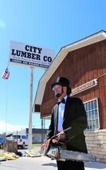 Melvin Faircloth has taken to dressing again as Abraham Lincoln, no doubt wondering how Honest Abe may have fare with a chainsaw back in the log cabin days. Oct. 12 2019