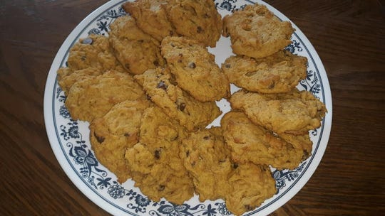 Freshly baked pumpkin chocolate chip cookies, a delicious fall treat shared this week by Lovina's daughter, Elizabeth.