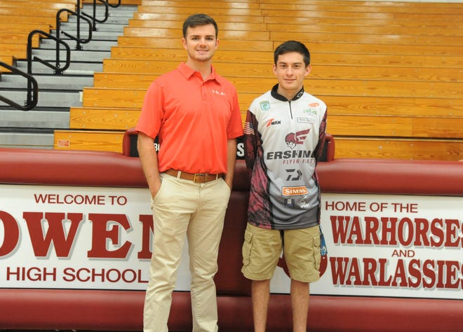 Owen senior Hunter White, right, became the first scholarship angler for the Erskine College fishing team, Oct. 17. The program was founded, as a club sport by Ryan Teems, left, when he attended the Due West, S.C. college. The Flying Fleet will open their inaugural season as an official Erskine Athletics program in the spring.