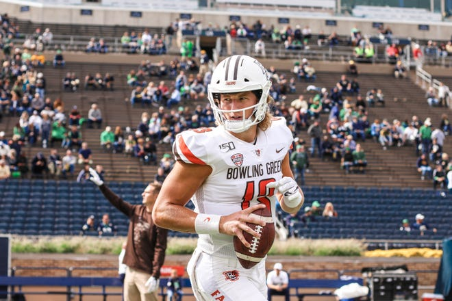 Grant Loy warms up ahead of the Notre Dame game unaware of just how much playing time he'd get that day.