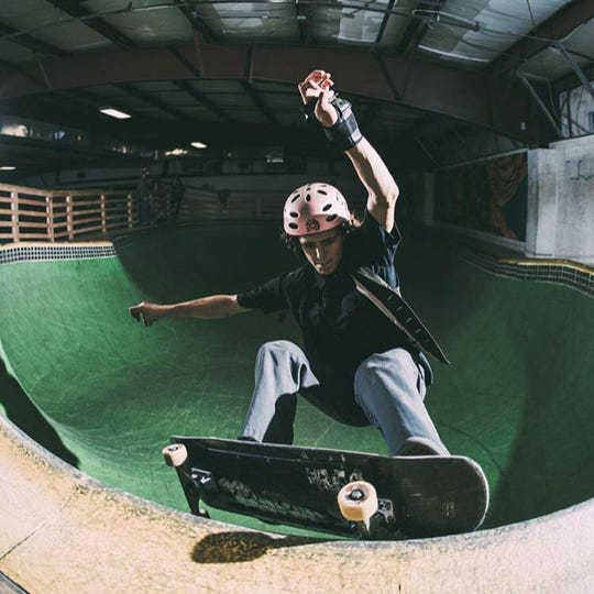 "Lucas Herrera-Mindell in the ""bowl"" at the former Talent Skate Park in South Burlington. It was dismantled in 2018 and purchased by Bolton Valley Resort."