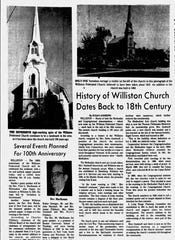Burlington Free Press Article October 18, 1869 of Williston Federated Church's 100th Anniversary