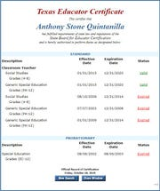 A screenshot of Anthony Quintanilla's Texas Educator Certificate shows his certification is valid as of Oct. 18, 2019.