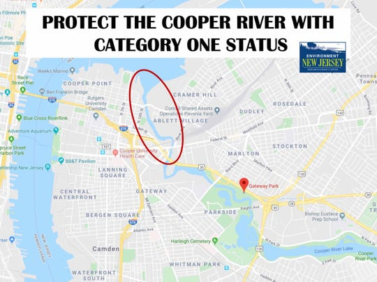 A map provided by Environment New Jersey Research and Policy shows the area of the Cooper River in need of extra protection.