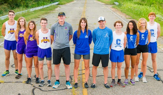 Southeast Ohio cross country powerhouses Chillicothe and Unioto have both dominated their league meets and are ready to take on the competition during this year's post season. (L-R) Robert Immell, Indy Spetnagel, Abby Rose, Eric Hacker, coach Matt Paxton, coach Heather Tarlton, coach Robert Strong, Oscar Mikus, Danielle Fleurima, Laikin Tarlton, and Andrew McCallum.