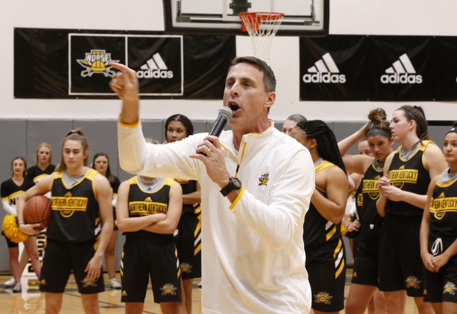 Head coach Darrin Horn addresses students during the Student Tip-Off Event, featuring the Northern Kentucky men's and women's basketball teams, Thursday, Oct. 17. (Photo: Gary Landers for the Enquirer)