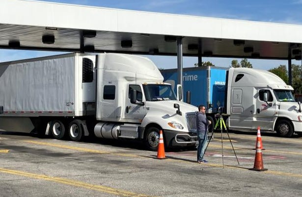 A motor operator was pinned between his tractor trailer and a pickup truck in this TA Truckstop in Florence.