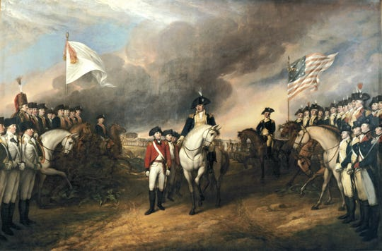 A painting by John Trumbull depicts the forces of British Major General Charles Cornwallis surrendering to French and American forces after the Siege of Yorktown during the American Revolutionary War.