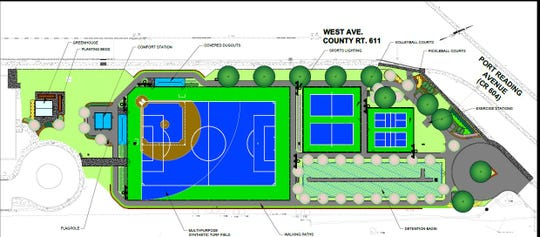 Architects rendering of the Cypress Park Level Playing Field and Recreational Facility in the Port Reading section  of Woodbridge.