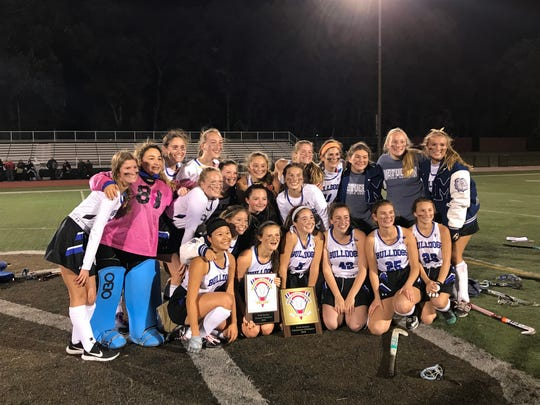 The top-seeded Metuchen field hockey team won its third-straight GMC Tournament title with a 2-1 double overtime win over No. 3 Monroe on Thursday, Oct. 17, 2019 at East Brunswick High School.