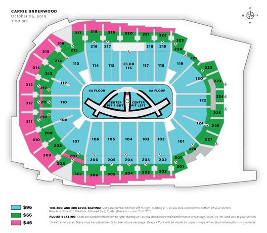 """Carrie Underwood's """"The Cry Pretty Tour 360"""" Seating Chart"""