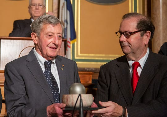 Simon N. Groot of the Netherlands receives the 2019 World Food Prize from John Ruan III at the Iowa State Capital building Thursday, Oct. 17, 2019.