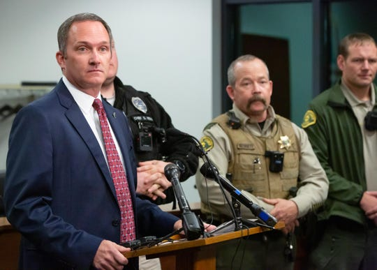 Special Agent in Charge Adam DeCamp with the Division of Criminal Investigation leads a press conference Friday morning detailing a shooting in Stuart that left three officers and a potential suspect injured late Thursday night.