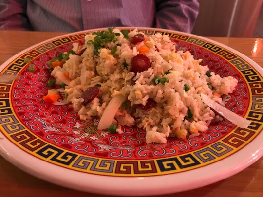 After School Fried Rice with Chinese sausage, eggs, peas, onions and scallions at Lucky Lotus.