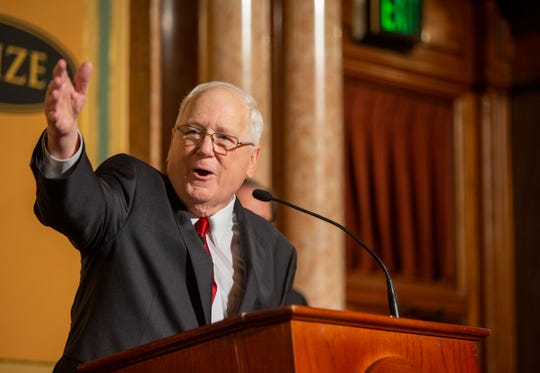 World Food Prize President Kenneth M. Quinn speaks from the house chambers the Iowa State Capital building Thursday, Oct. 17, 2019.