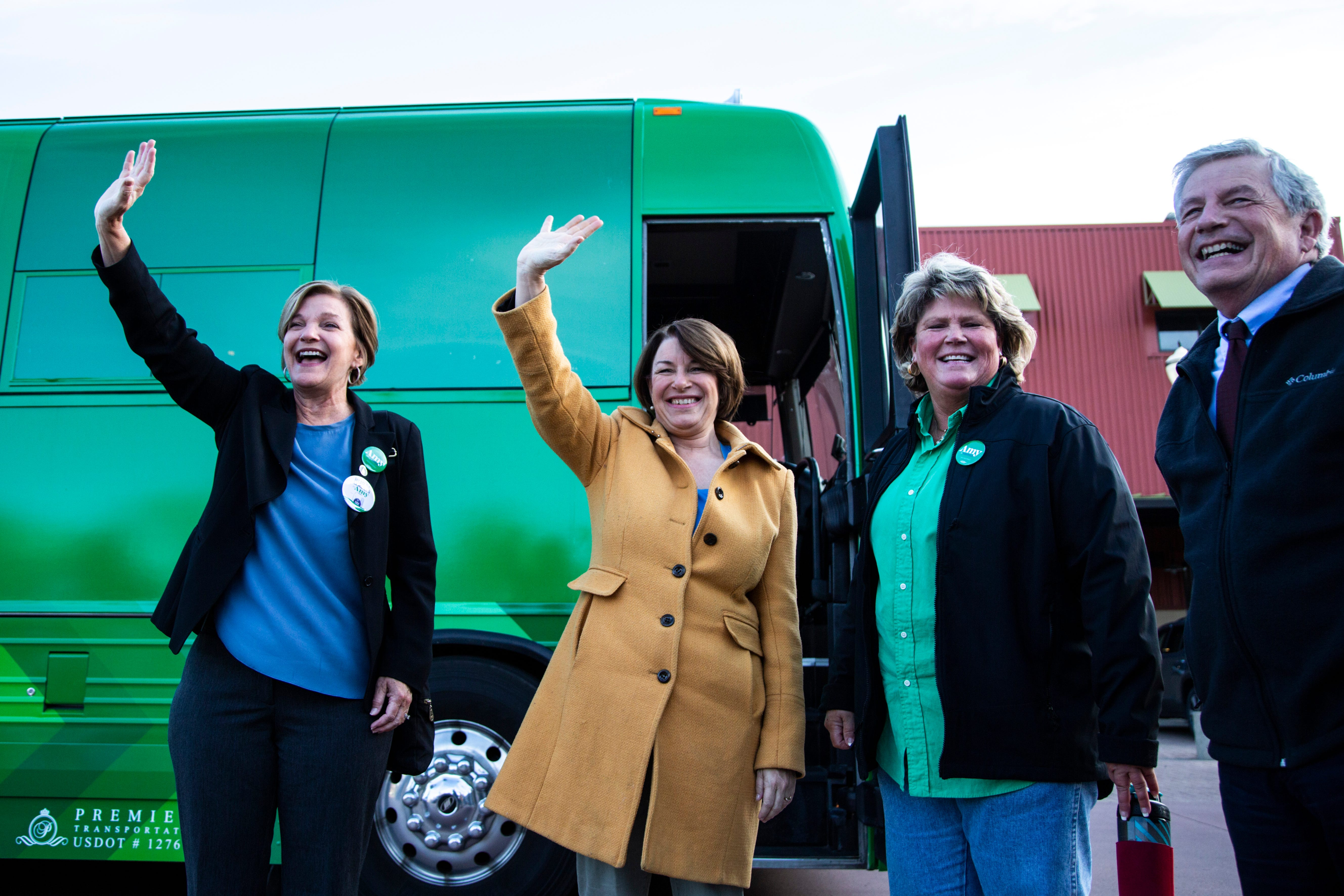 Full speech: Andy McKean speaks with Amy Klobuchar at bus tour kickoff event