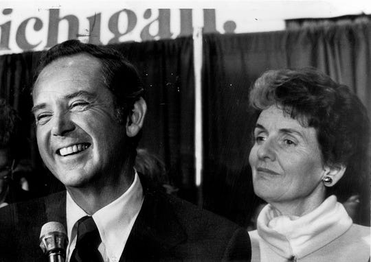 Governor William Milliken and his wife, Helen Milliken, during the victory party for the Governor in 1978.