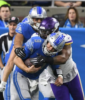 Lions quarterback Matt Stafford has been sacked 21 times in the last four meetings with the Vikings.