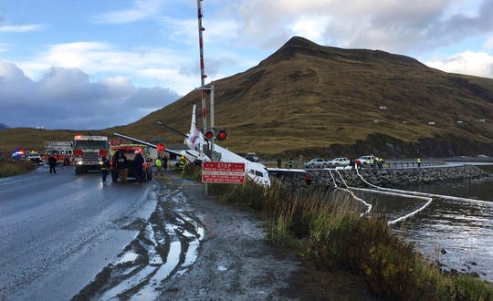 A commuter airplane has crashed near the airport in a small Alaska community on the Bering Sea, Thursday, Oct. 17, 2019, in Unalaska, Alaska.